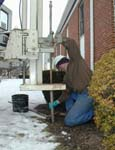 Man using Geoprobe rig at Tabernacle church in Hamden